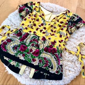 Nanette Lepore Silk Tie-Back Flutter Sleeve Top